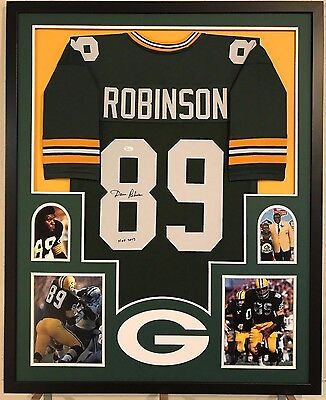 e0f544dca17 FRAMED DAVE ROBINSON AUTOGRAPHED SIGNED INSCRIBE GREENBAY PACKERS JERSEY  JSA COA