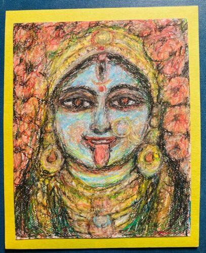 """Vintage Oil Pastel Drawing of Hindu Kali Original Artist Unknown 8"""" x 10"""""""
