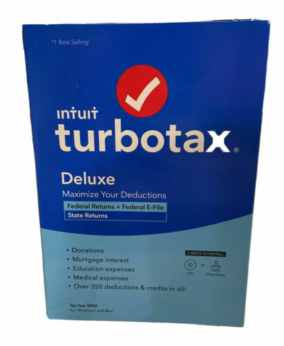 Intuit TurboTax Deluxe 2020 Federal State Return Efile for Windows Mac Sealed