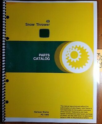 John Deere 49 Snow Thrower Parts Catalog Manual Pc-1080 278