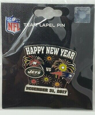 New York Jets VS New England Patriots 12/31/17 Game Day Pin HAPPY NEW YEAR PIN