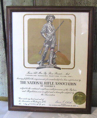Canadian Honkers Hunting Club National Rifle Association Certificate NRA Vintage