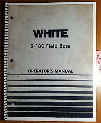 Wfe White 2-180 Field Boss Tractor Owners Operators Manual 432 446a 479