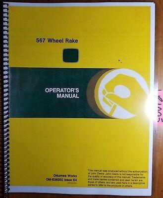 John Deere 5 6 7 567 Wheel Rake Sn 12001- Owner Operator Manual Om-e56202 E4