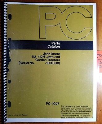 John Deere 112 112h Lawn Garden Tractor Sn -100000 Parts Catalog Manual 1276