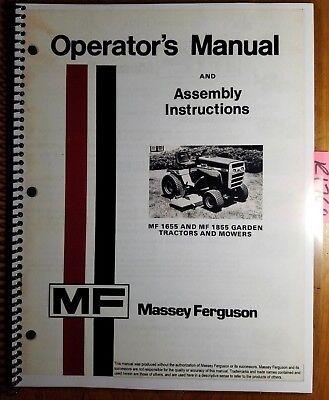 Massey Ferguson Mf 1655 1855 Garden Tractor Mower Operator Manual 1448 382 M2