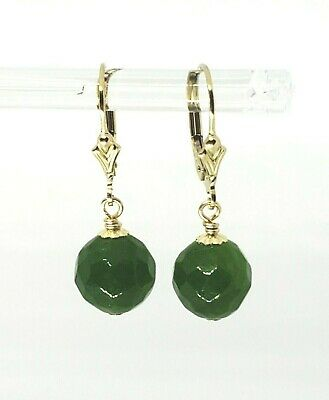 14k Yellow Gold Filled Faceted Green Jade Ball Post Leverback Dangle Earrings