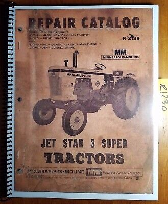 Minneapolis-moline Jet Star 3 Super Tractor Repair Parts Catalog Manual R-2139