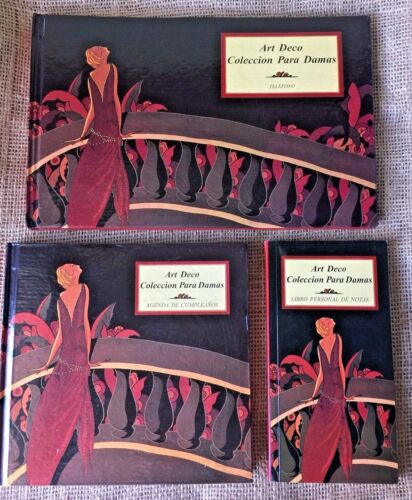Art Deco desktop book set phone book/birthday book/personal book set of 3 unused