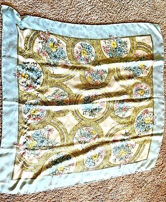 Vintage Scarf Styles -1920s to 1960s Vintage Square Scarf Light Blue Floral Pattern 35