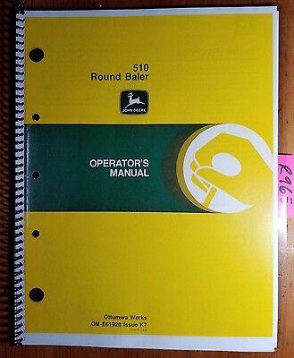 John Deere 510 Round Baler Sn 390001- Owner Operator Manual Om-e61920 K7 1177