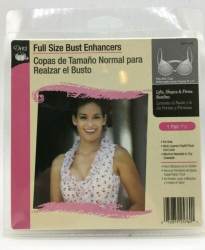 enhancers Dritz Push-Up Bra Cups New Pads 1 pair C//D Cup White Bra inserts