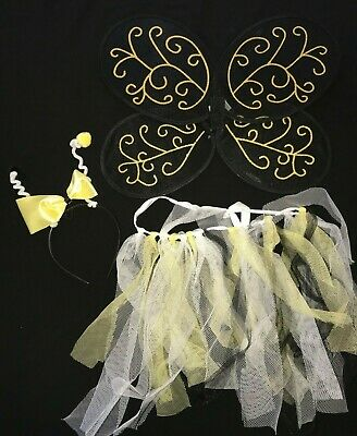 girls BUMBLE BEE HALLOWEEN COSTUME PRETEND PLAY WINGS HEADBAND TULLE SKIRT cute