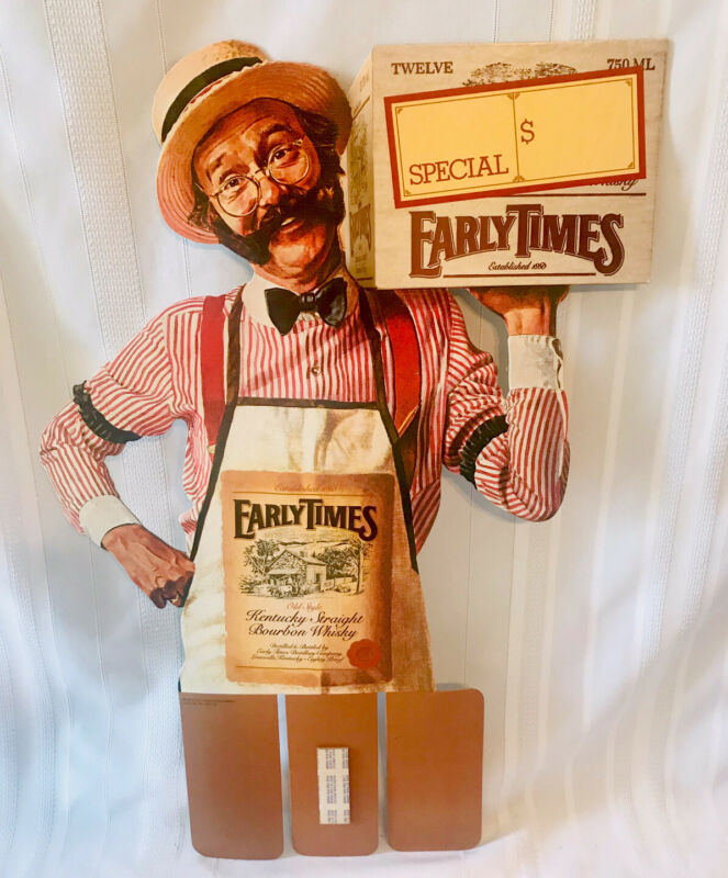 "Vtg Early Times Bourbon Whiskey Advertising Store Display Case Card 26"" Tall NOS"