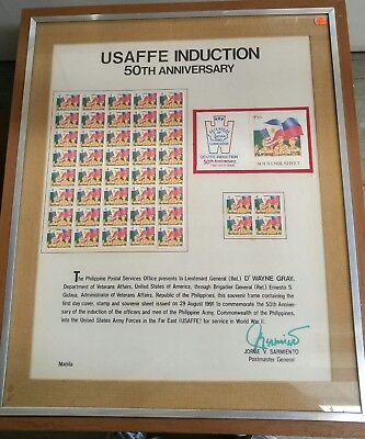 USAFFE Induction 50th Anniversary Philippines Stamp Glass Framed Display