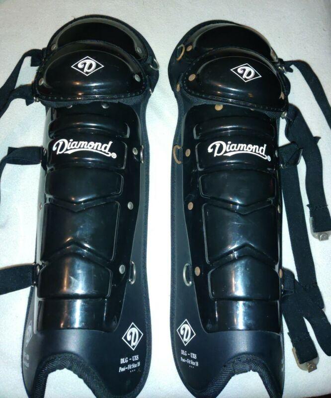 Diamond DLG-UXS Adult Baseball Softball Umpire Leg Guards Black Size 18