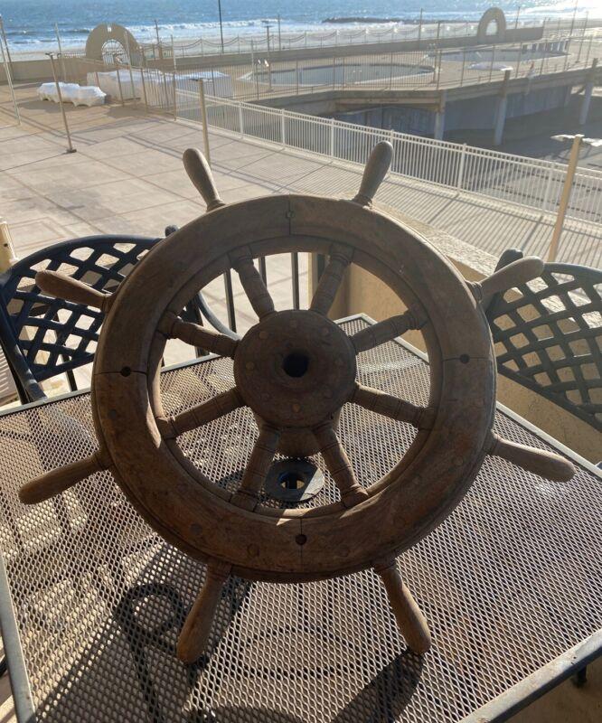 "Rare Antique 8 Spoke Wood Sailing Ships Wheel Nautical Ships Wheel 31""  Yard Art"