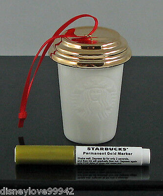 Starbucks Christmas Ornament GOLD CAP Hot Cup w Gold Pen to Design 2013