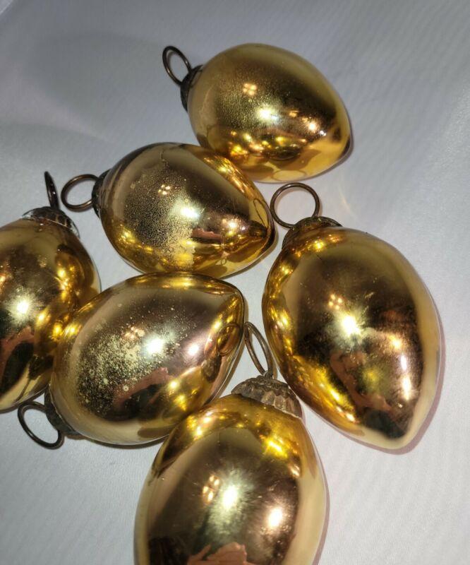 Lot of 6 Gold tone Mercury Glass Teardrop shaped Kugel Style Christmas Ornaments