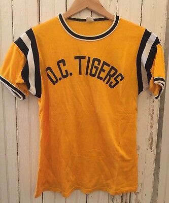 Mens VINTAGE DC Tigers Plaited Jersey Baseball Athletic Sport Tee Shirt Sm Fit Dc Fitted Jersey Tee