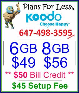 Koodo $49 6gb, $56 8gb LTE data plan talk text + $50 bonus