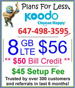 Koodo $56 8GB LTE data plan UNLIMITED talk text + $50 bonus