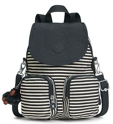 Kipling FIREFLY UP Small Backpack Covertible To Shoulder Bag - Marine Stripy B