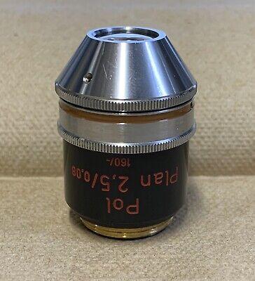 Zeiss Plan 2.5x0.08 Pol Polarizing Microscope Objective 160mm