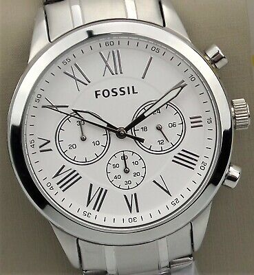 FOSSIL FLYNN Chronograph Watch BQ1740 Men' Silver Stainless Steel Band $135 NEW