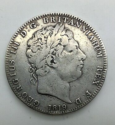 1819 LIX Silver Crown Mid Grade Great Britain old Light Cleaning