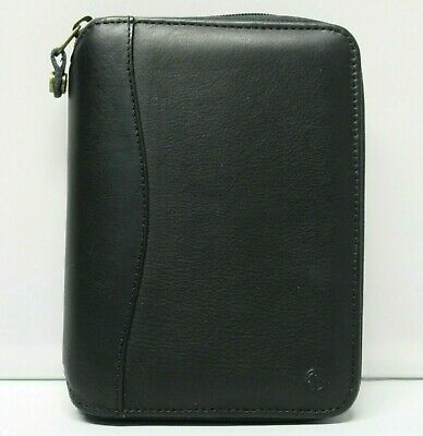 Franklin Covey Compact Size Black Leather Planner 34 Rings Spacemaker