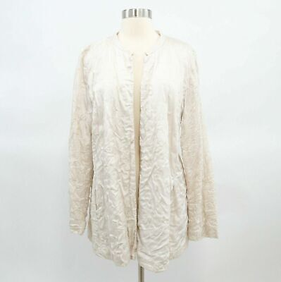 Eileen Fisher Silk Jacket Womens L Large Ivory White Open Front Crinkle Evening