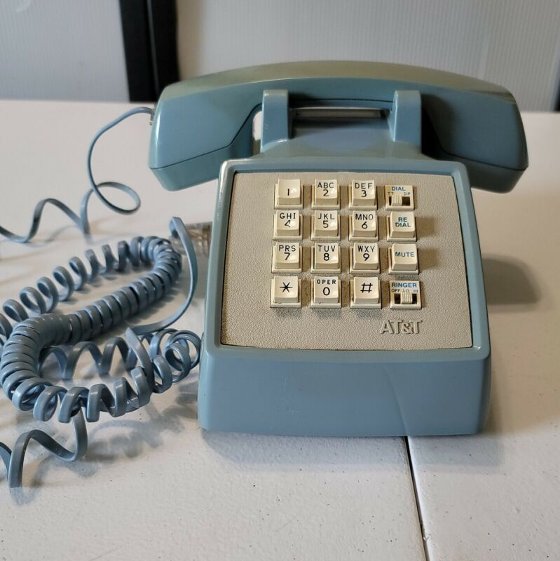 AT&T Vintage Blue Telephone 1990s Push Button Phone