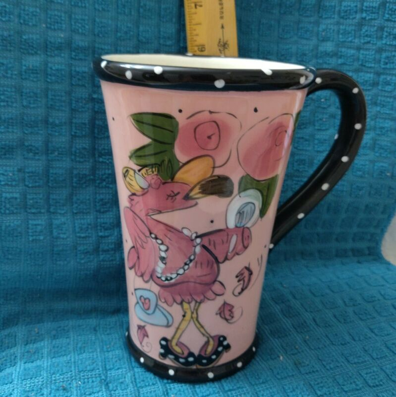 "Fancy Flamingo Girl Tall Coffee Mug 2010 By Heather Goldmine Blue Sky 6 ""  16 oz"