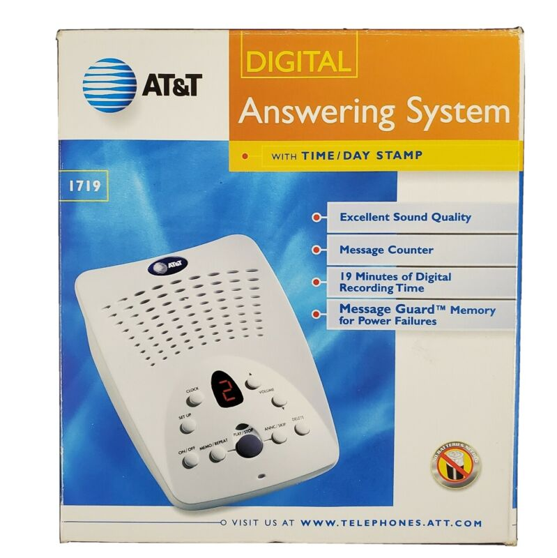 AT&T Digital Answering System 1719 Time-Day Stamp Message Guard Windchill White