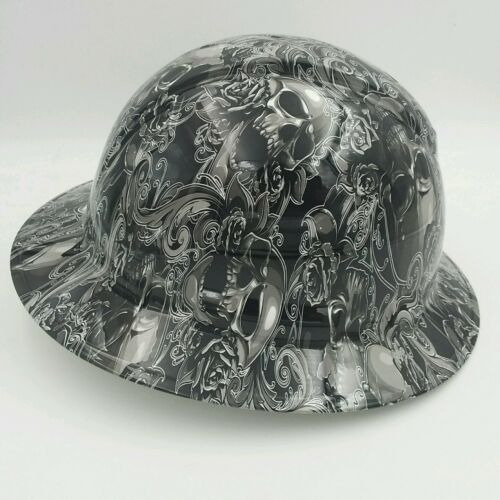 Hard Hat FULL BRIM custom hydro dipped , OSHA approved SKULLS N ROSES NEW 1