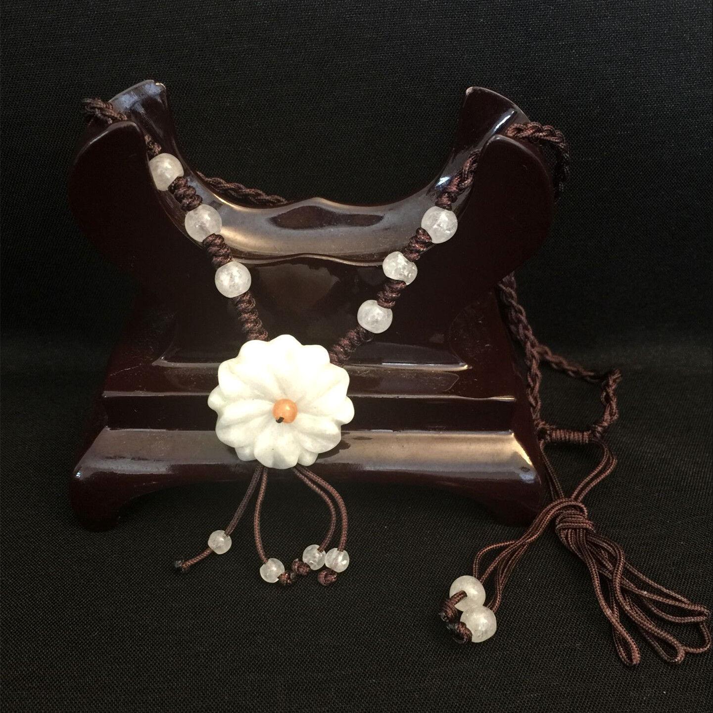 Handmade Ladies Oriental Chinese White Jade Flower Adjustable