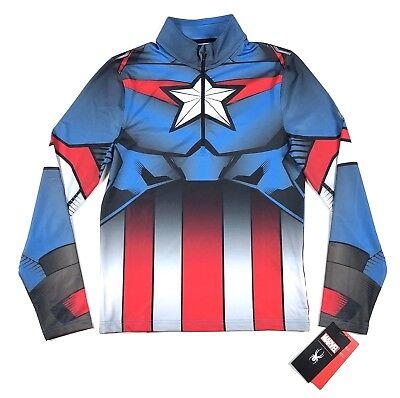 Spyder Marvel Captain America Tech 1/4 Zip Ski Base Layer Shirt Costume Men Size