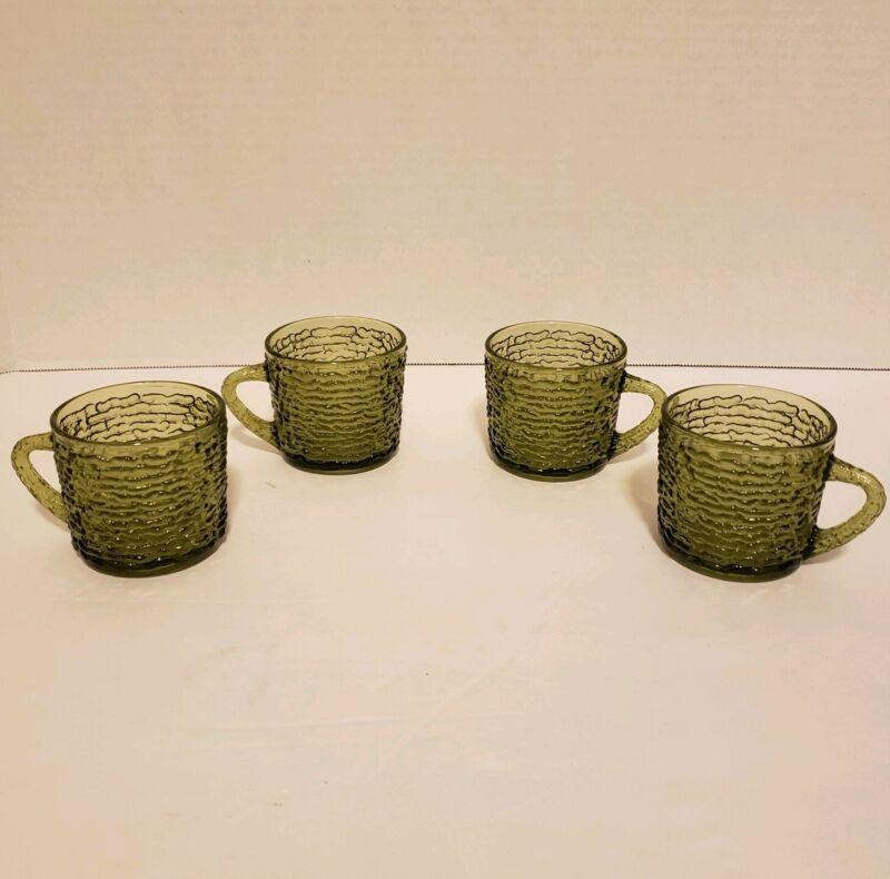 4 Vintage Anchor Hocking Avocado Green Glass Soreno 5 oz. Coffee Tea Cups