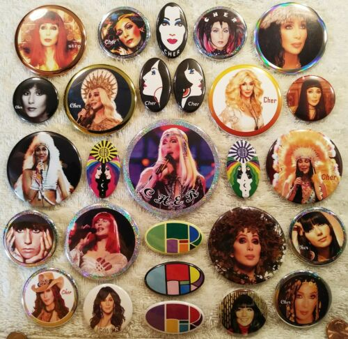 Cher PIN BUTTON LOT number two - 27 Live Concert Photo Logos HOLOGRAPHIC Rare