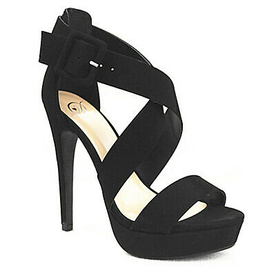 Women's Peep Toe Fashion Platform Sling Back Ankle Strap Faux High Heel Sandals Womens Fashion Slingback Heels