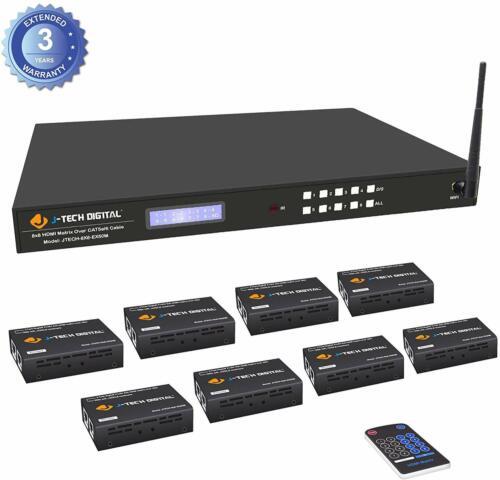 J-Tech Digital 8x8 HDMI 1080p HDCP Matrix Switcher Extender,8 Receivers Control4