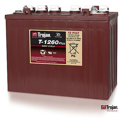 NEW Trojan T-1260 12V 12 Volt Golf Cart Battery RV marine solar deep cycle
