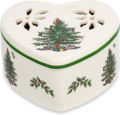 SPODE Christmas Tree Pierced Heart Shaped Porcelain Trinket Jewelry Box w/Lid