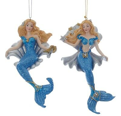Blue And Silver Christmas Ornaments (Kurt Adler Blue and Silver Blonde Mermaids With Shells Ornaments Set of)