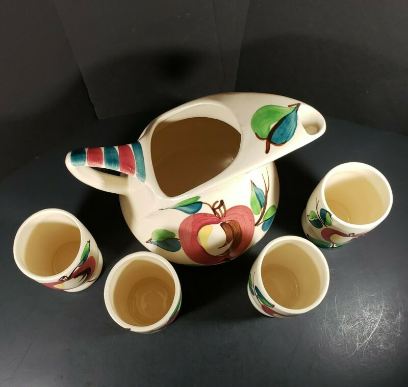Vintage Purinton Pottery Fruit Apple Beverage Set Pitcher and 4 Tumblers