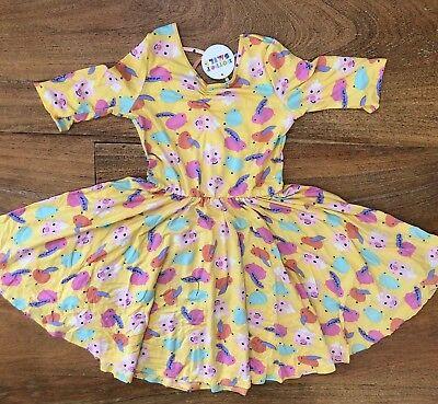 NWT Dot Dot Smile Twirly Summer dress Girls Ballerina Flying Pigs Yellow - Twirly Girl
