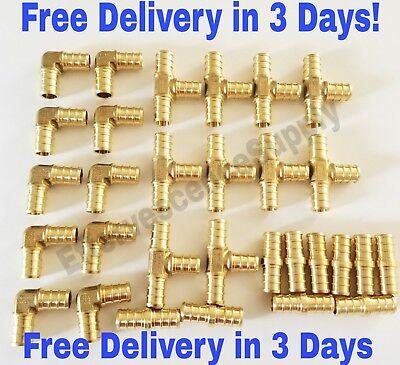 30 Pcs 38 Brass Pex Fittings 10-each Elbow Coupler Tee Lead Free Brass