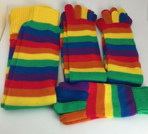 Vintage Rainbow Leg Warmers, 2 Pair Toe Socks and Gloves Set