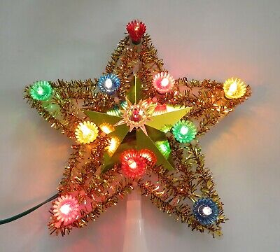 Vintage Kreations Light Up Christmas Star Tree Topper Gold Tinsel
